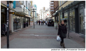 a street view of the Primasenser Straße in Kaiserslautern in Germany with vacant shops